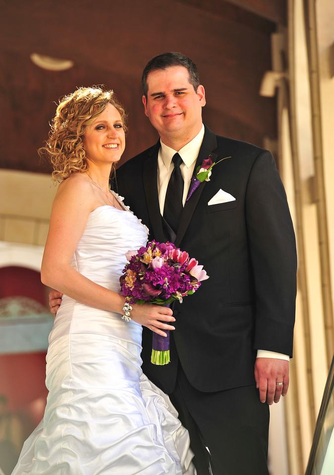 Dana looking stunning in her wedding dress and Darren looking very dashing in his tux.