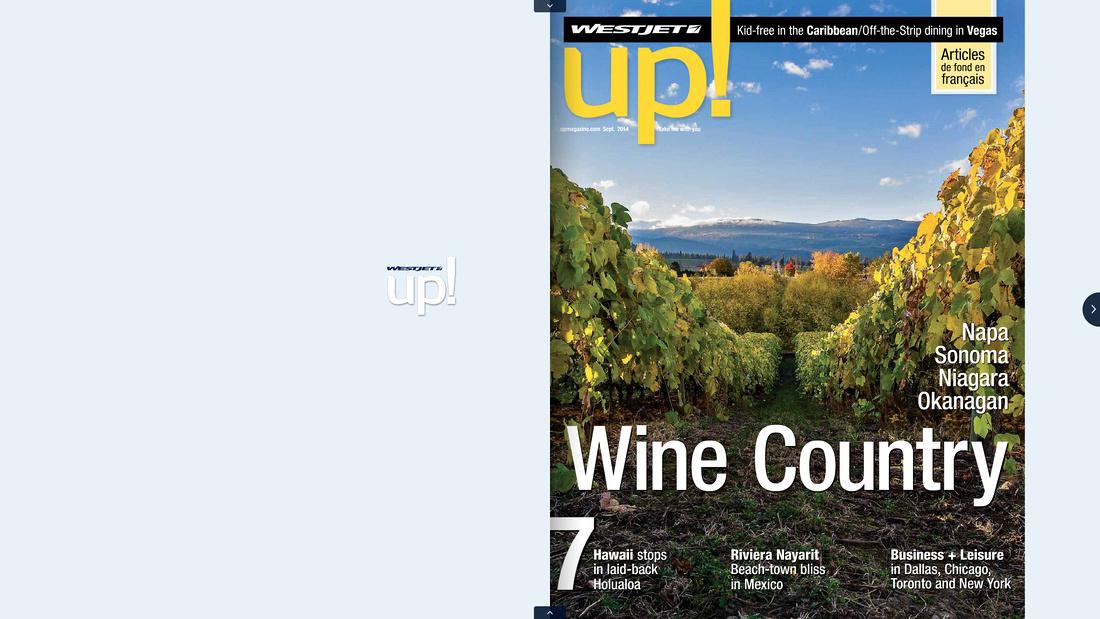 WestJet magazine cover photo 'up!'